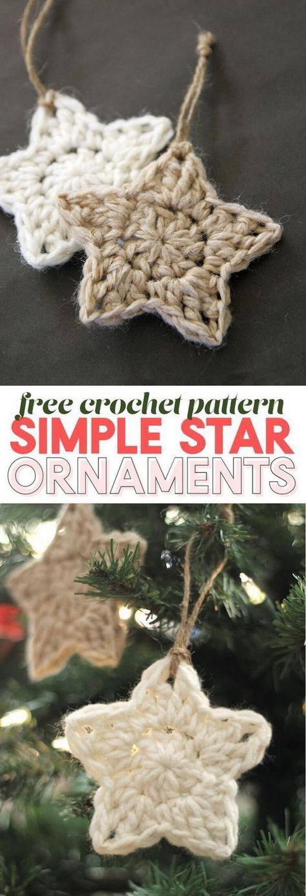 Crochet Stars Free Ornament Pattern.