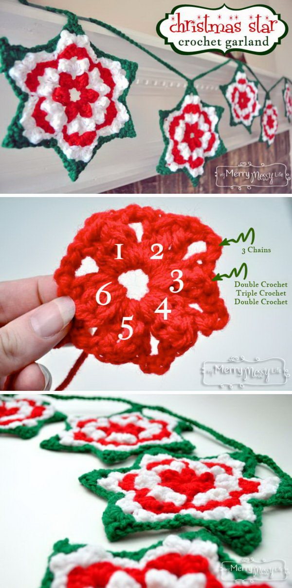 Crochet Christmas Star Granny Garland. Here is another crochet star pattern for you! Just crochet several stars and combine them with yarns! These will be great Christmas garlands and Xmas decoration!