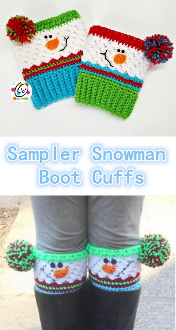 Crochet Snowman Boot Cuffs.