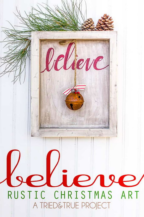 """Believe"" Rustic Christmas Art. Rustic farmhouse style is always the popular choice for Christmas decorations every year. Set the tone for an incredible holiday season with this amazing rustic Christmas wall art."