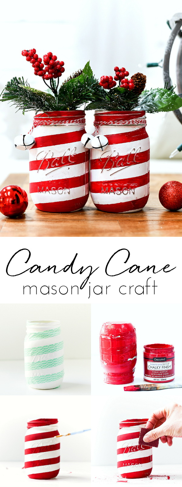 Holiday Candy Cane Mason Jars. Mason jars always make an affordable Christmas gift and decoration. Make your home special with these festive candy cane mason jars into your holiday decor.