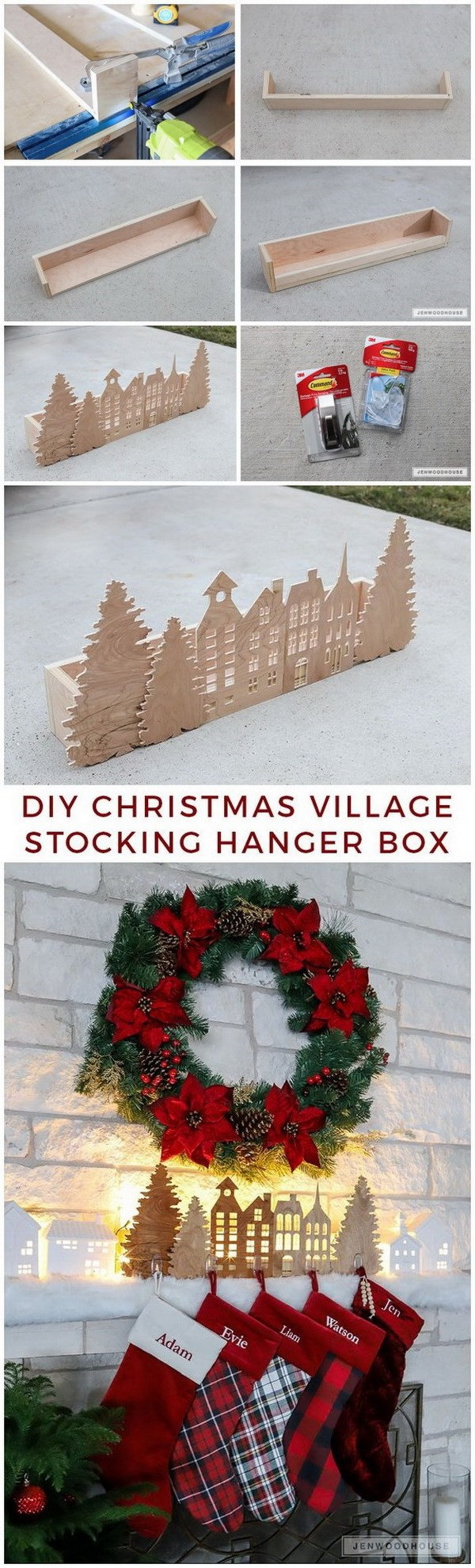 DIY Christmas Village Stocking Hanger Box. What a fun and easy DIY project for your mantle decoration this Chirstmas season!