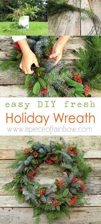 Fresh Christmas Wreath. Make a beautiful Christmas wreath using fresh evergreen cuttings in 20 minutes!