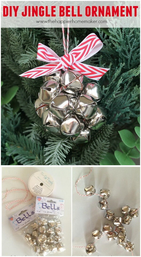 DIY Jingle Bell Ornament. This adorable little jingle bell ornament is a super easy one, even the kids can make this! Super cute!