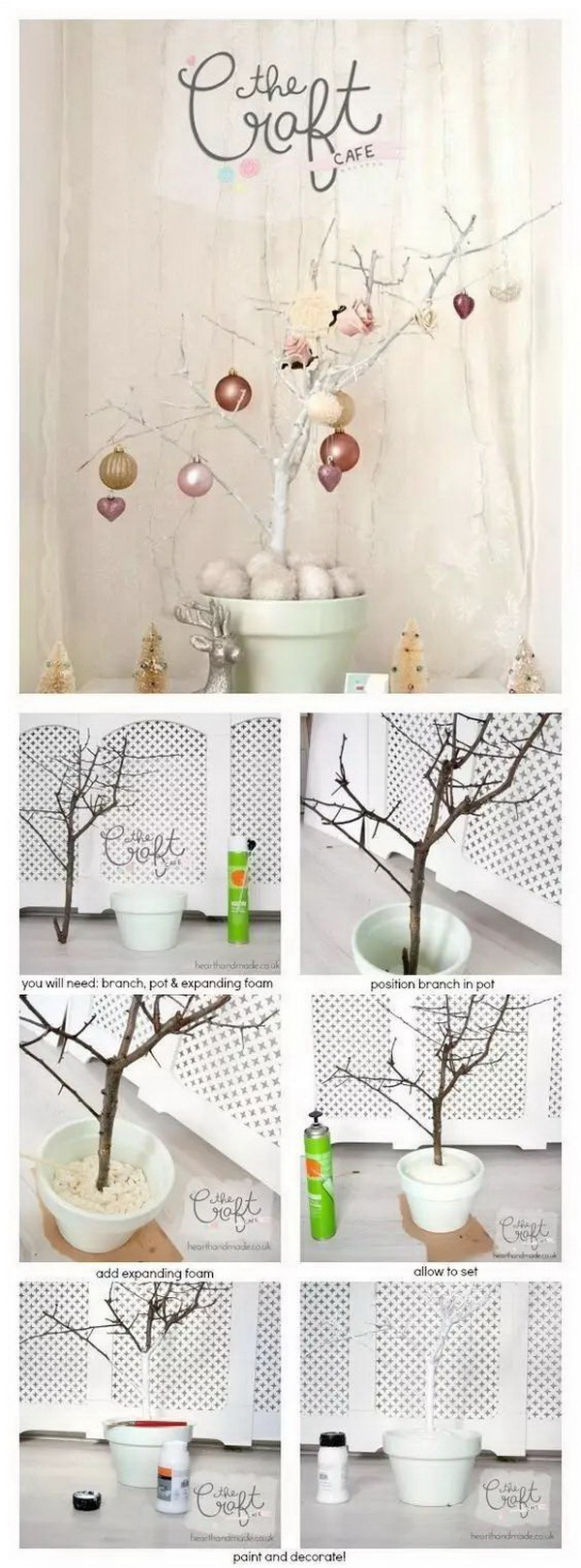 DIY Branch Christmas Tree. This branch Christmas tree are made with very common things in the craft store or at your home. It is a super easy alternative craft to your Christmas tree.