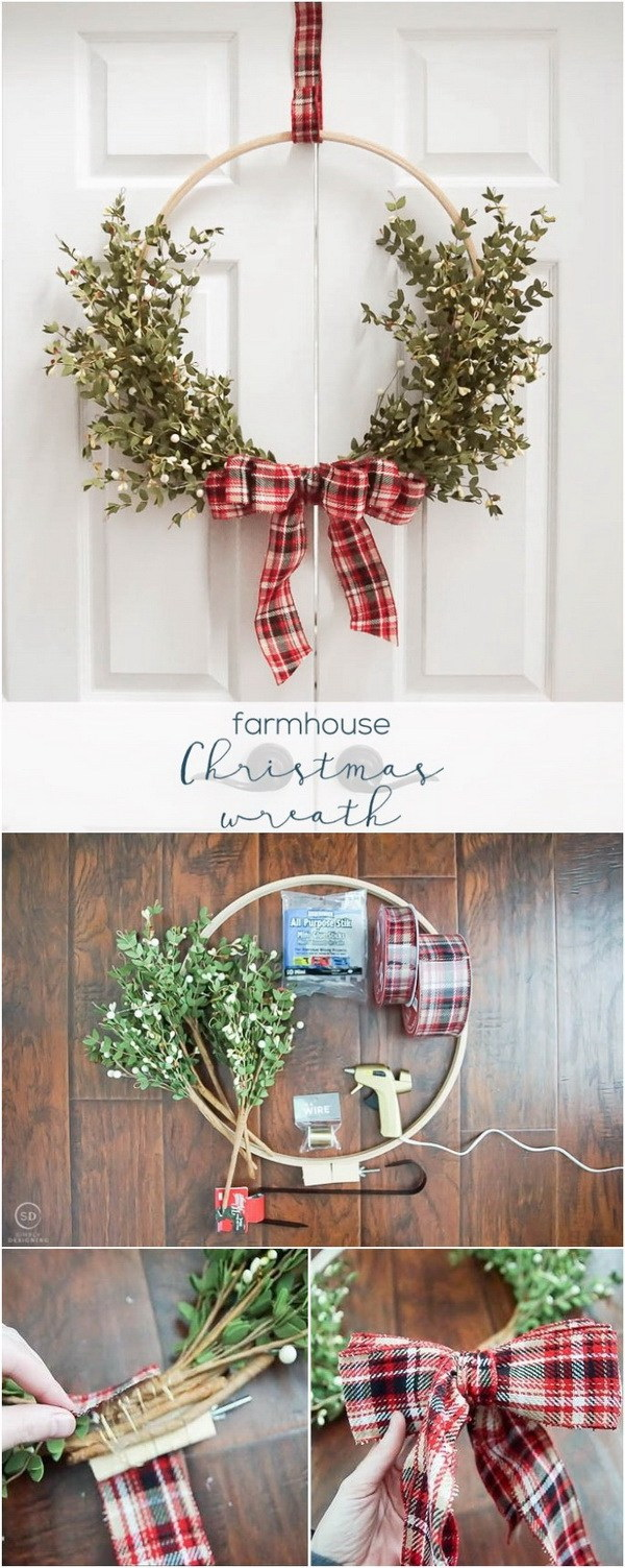 DIY Farmhouse Christmas Wreath. Adore your door and get your home in the holiday spirit with this fun and festive rustic wreath for this Chirstmas holiday!