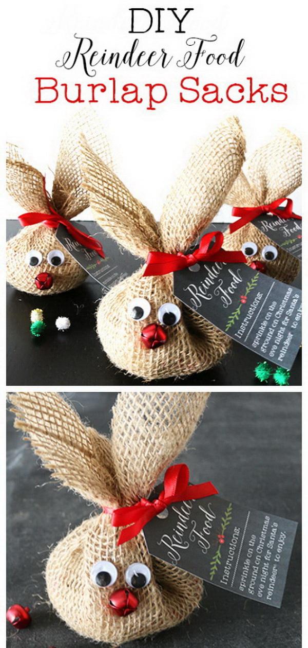 DIY Reindeer Food Burlap Sack.