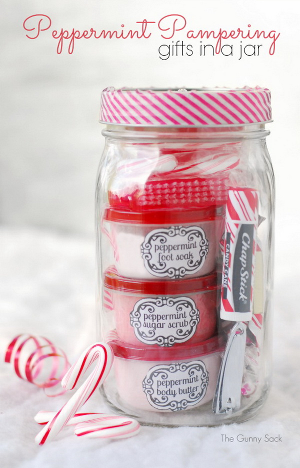 Christmas Neighbor Gift Ideas: Peppermint Pampering Gift.