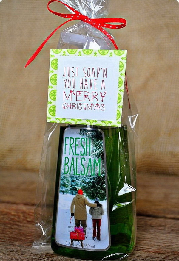 Christmas Neighbor Gift Ideas: Soap Gifts with Free Printables.