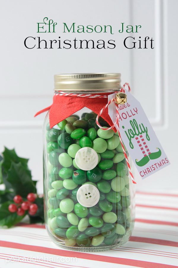 Christmas Neighbor Gift Ideas: Elf Mason Jar.