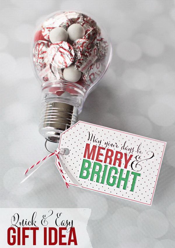 Christmas Neighbor Gift Ideas: Lightbulb Ornaments Filled with Kisses Chocolates