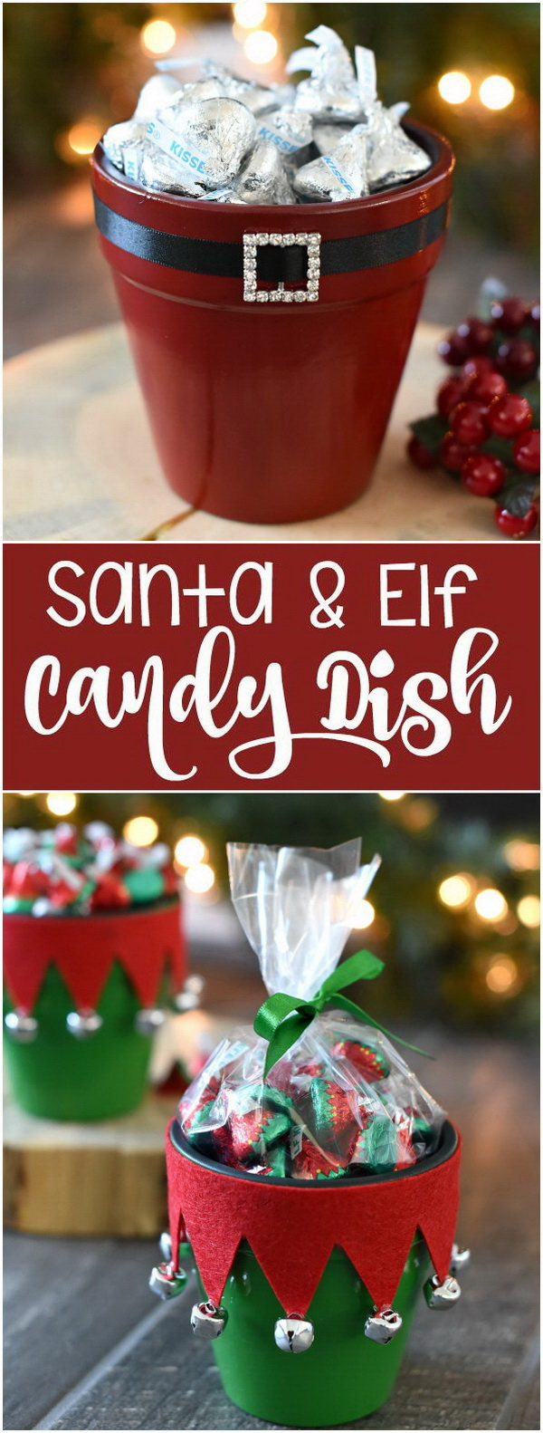 Elf & Santa Candy Pot Gift Idea.