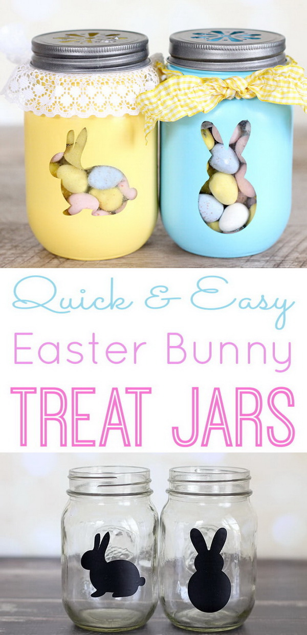 DIY Easter Decoration Ideas: Easter Bunny Treat Jars.