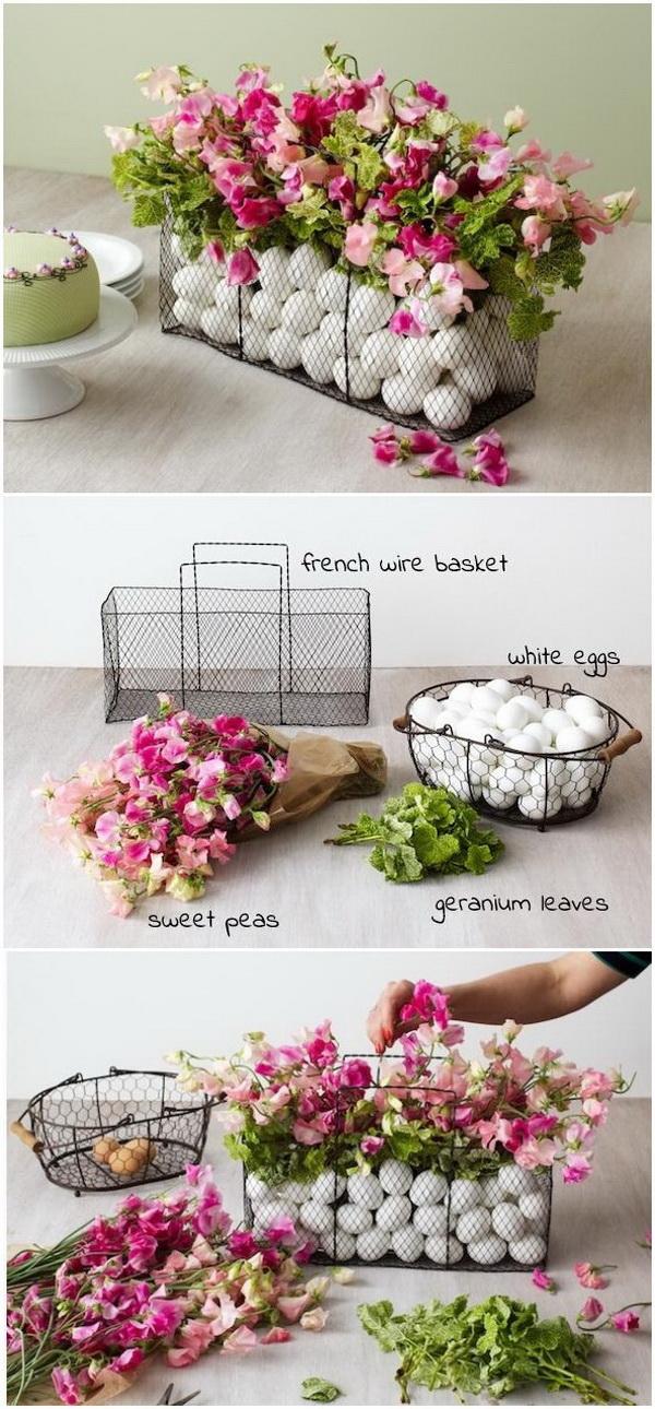 DIY Easter Decoration Ideas: DIY Easter Egg Wire Basket Centerpiece.