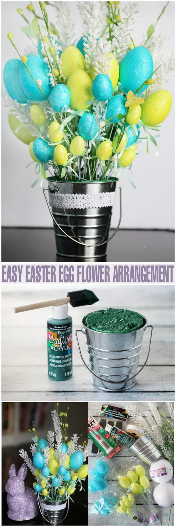 DIY Easter Decoration Ideas: Easy Easter Egg Flower Arrangement.
