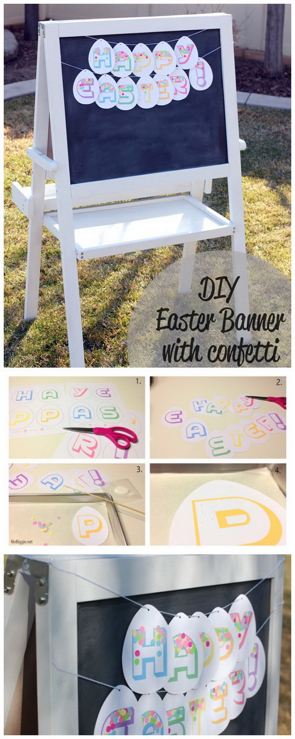 DIY Easter Decoration Ideas: Happy Easter Banner with Confetti<.