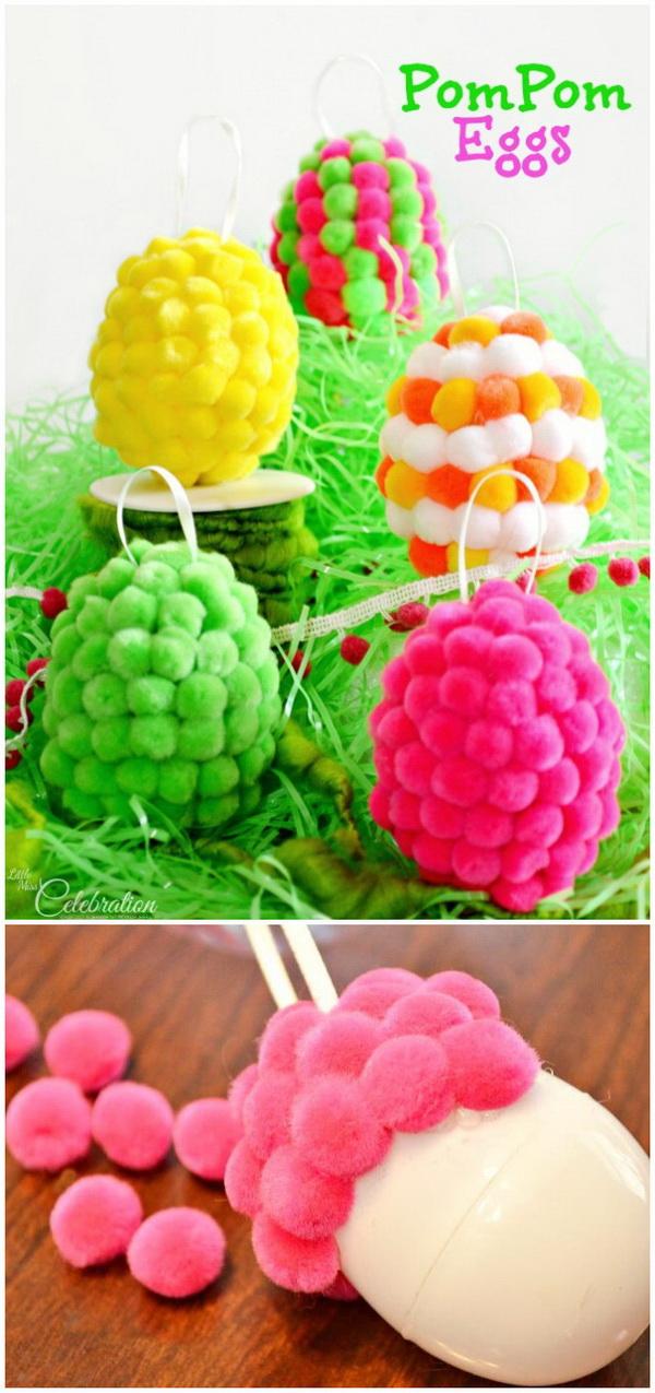 DIY Easter Decoration Ideas: Pompom Eggs.