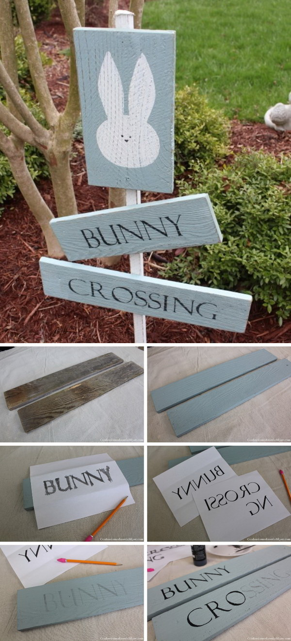 DIY Easter Decoration Ideas: Bunny Crossing Sign from Fence Pickets.