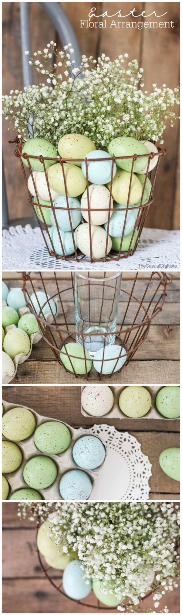 DIY Easter Decoration Ideas: Basket of Eggs Kissed with Baby's Breath.