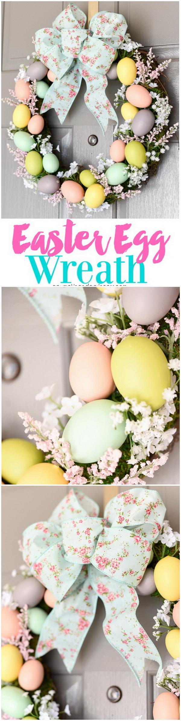 DIY Easter Decoration Ideas: DIY Easter Egg Wreath.