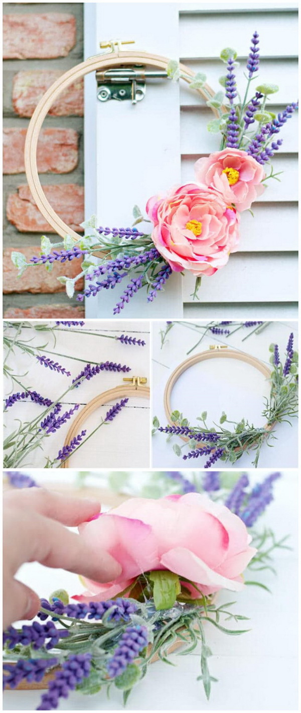 DIY Easter Decoration Ideas: DIY Embroidery Hoop Spring Wreath.