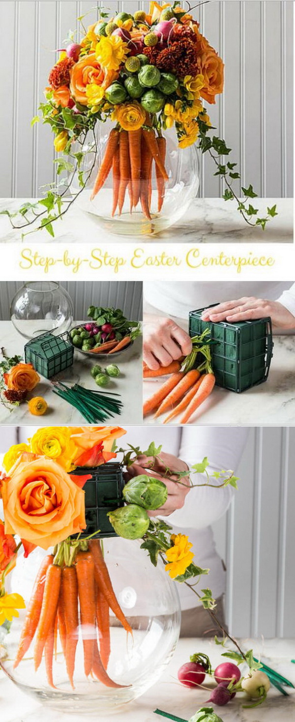 DIY Easter Decoration Ideas: Easter Centerpiece with Bouquet of Bright Carrots.
