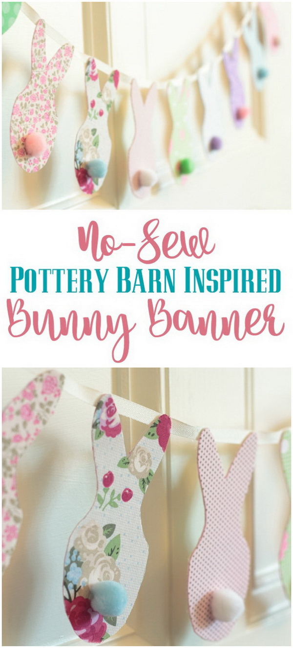DIY Easter Decoration Ideas: Pottery Barn Inspired No-Sew Easter Bunny Banner.