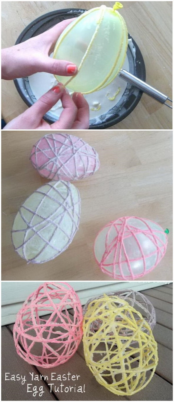DIY Easter Decoration Ideas: Easy Yarn Easter Egg.