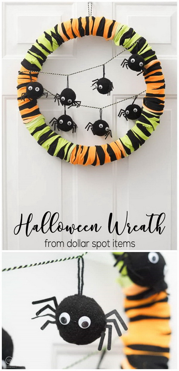 DIY Halloween Decorating Projects: Halloween Wreath Made With Dollar Spot Items.
