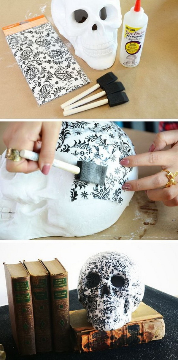 DIY Halloween Decorating Projects: DIY Halloween Skulls Decor.