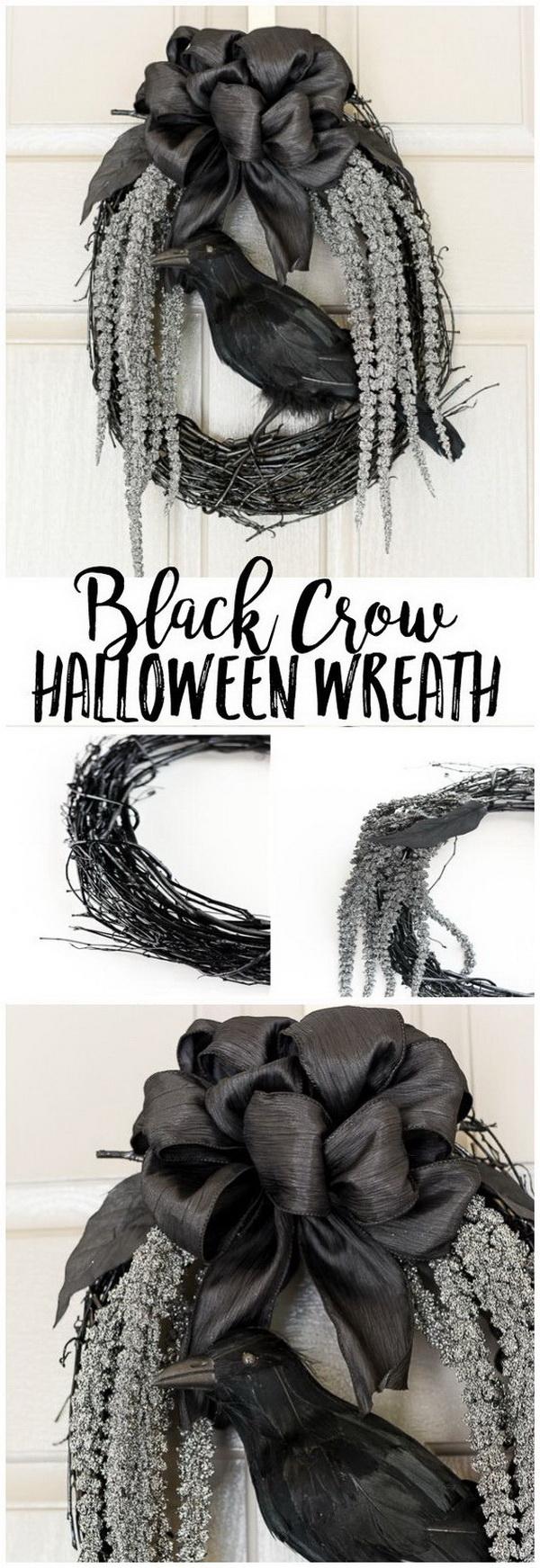 DIY Halloween Decorating Projects: DIY Black Crow Halloween Wreath.