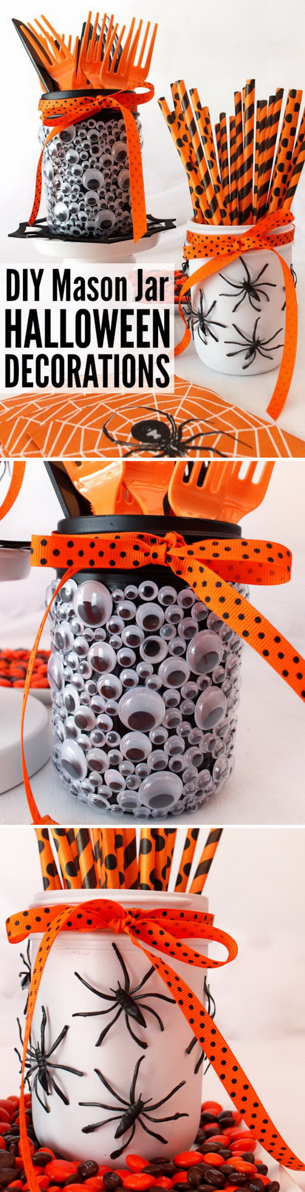 DIY Halloween Decorating Projects: Googly Eyes and Spider Mason Jars.