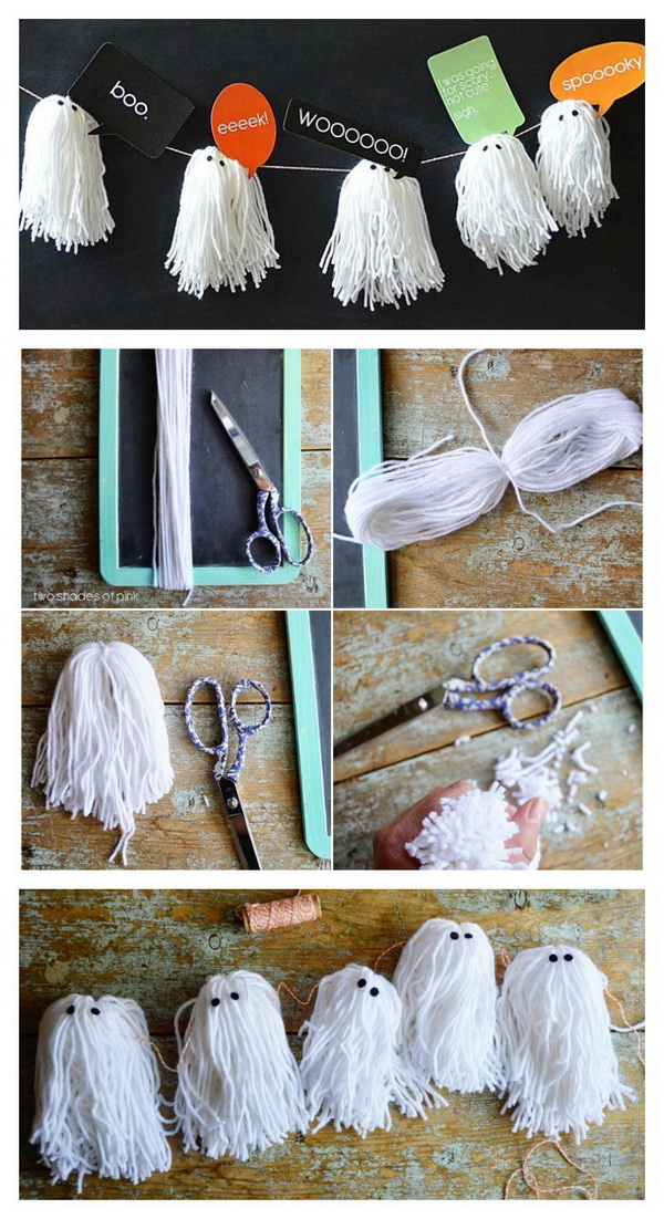 DIY Halloween Decorating Projects: Yarn Ghost Garland.