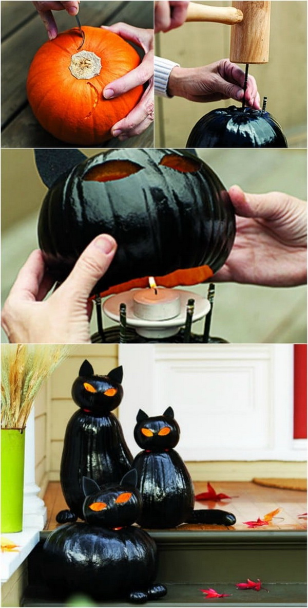 DIY Halloween Decorating Projects: Black Cat O'Lanterns.