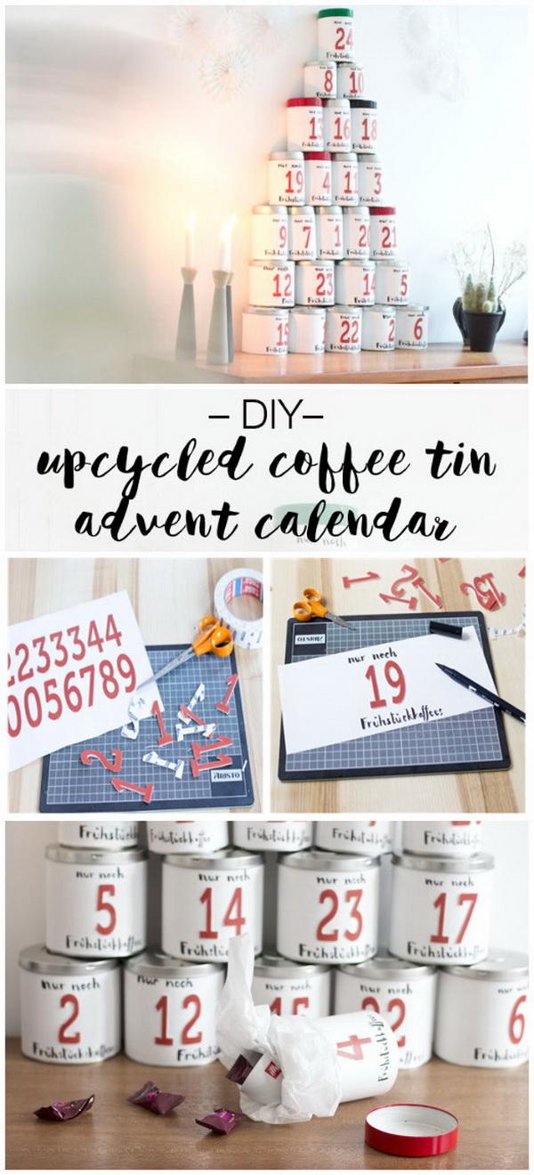 DIY Coffee Tin Can Advent Calendar.