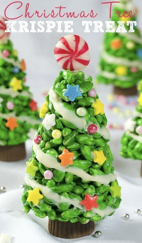 Quick and Easy Christmas Treat Ideas: Christmas Tree Krispie Treats.