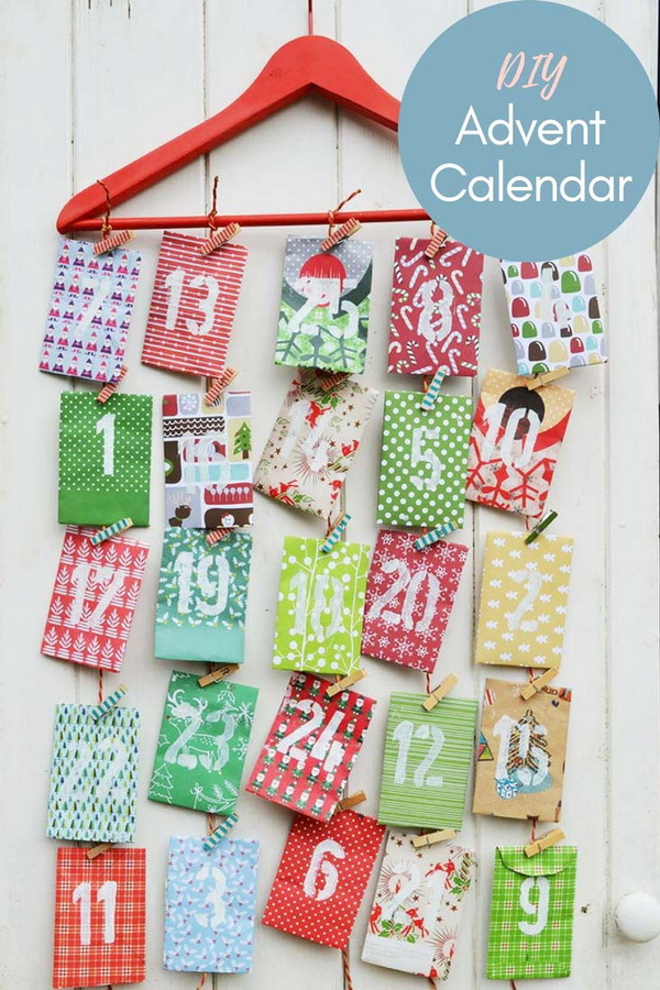 DIY Paper Envelope Advent Calendar.