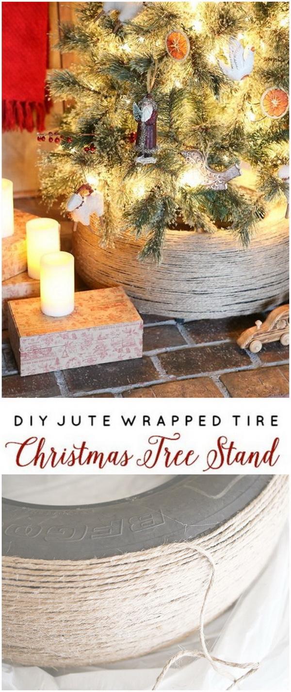 DIY Jute Wrapped Tire Christmas Tree Stand.