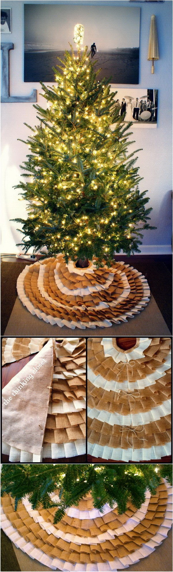 DIY No-Sew Ruffle Christmas Tree Skirt.