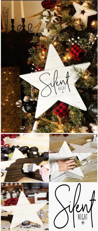 DIY Farmhouse Christmas Carol Star Tree Ornaments.