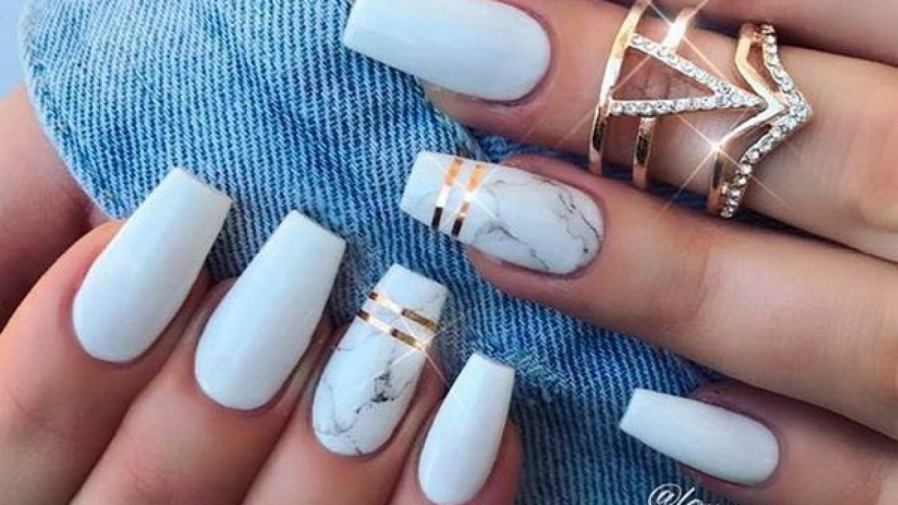 40 Impressive White Coffin Nail Designs You Ll Flip For In 2020