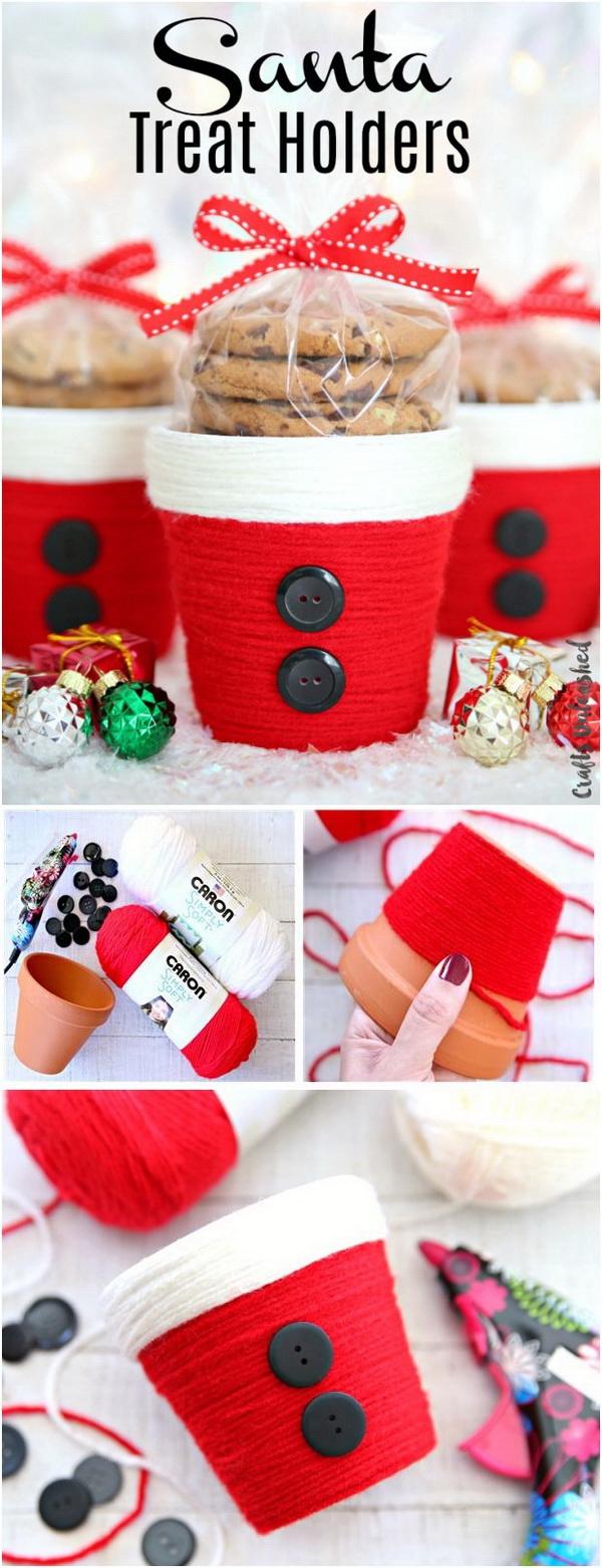 Yarn Wrapped Santa Treat Holders.