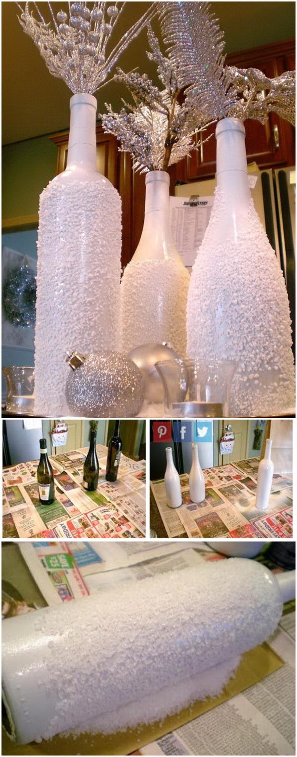 DIY Snow Vases From Wine Bottles.