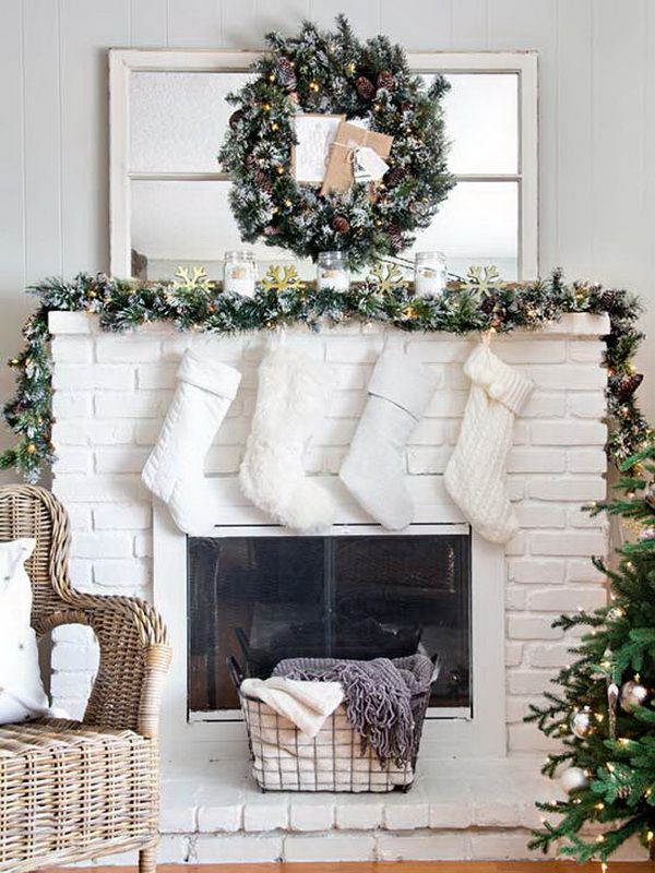 Classic White Christmas Tree And Mantel with Rustic Glam.