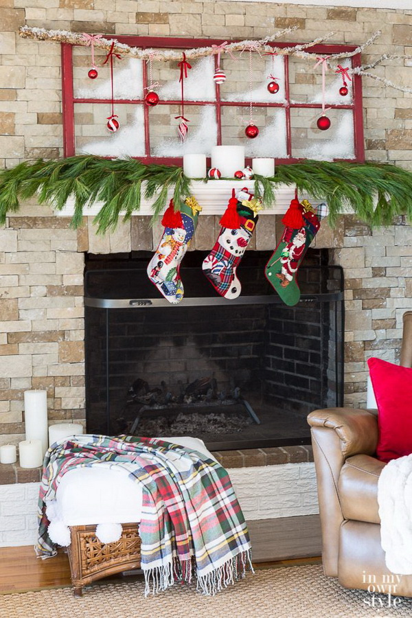 Christmas Mantel Decoraing with Repurposed Items.