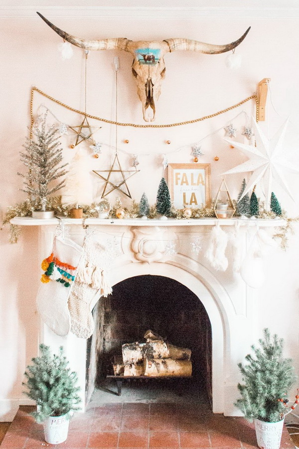 White Christmas Mantel Decoration with Western Touches.
