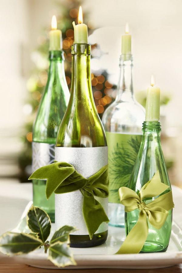 Wine Bottles Candle Holder.