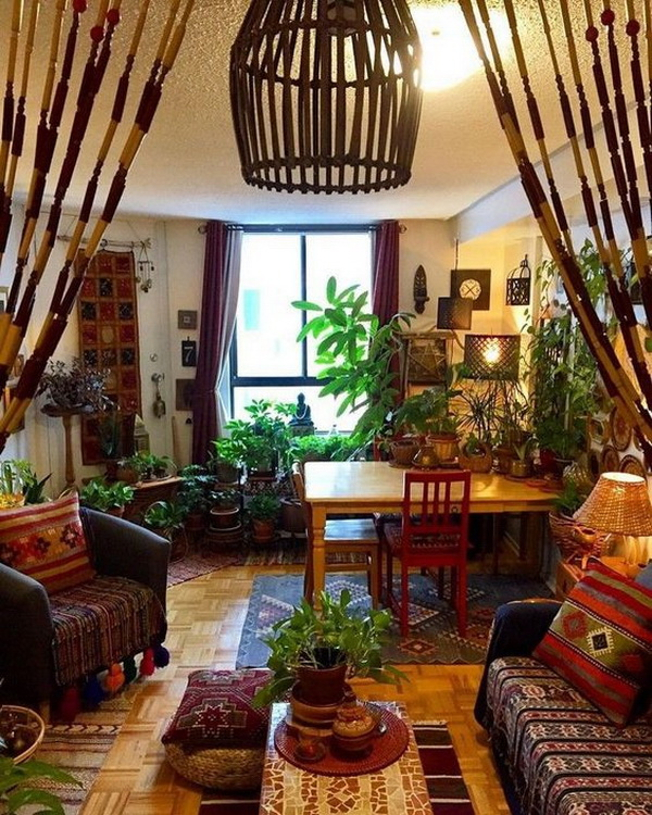 Bohemian style home decor with lush of greenary.