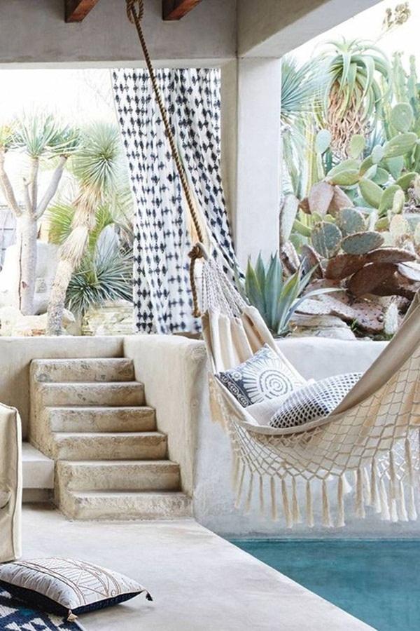 Modern bohemian style interior design.