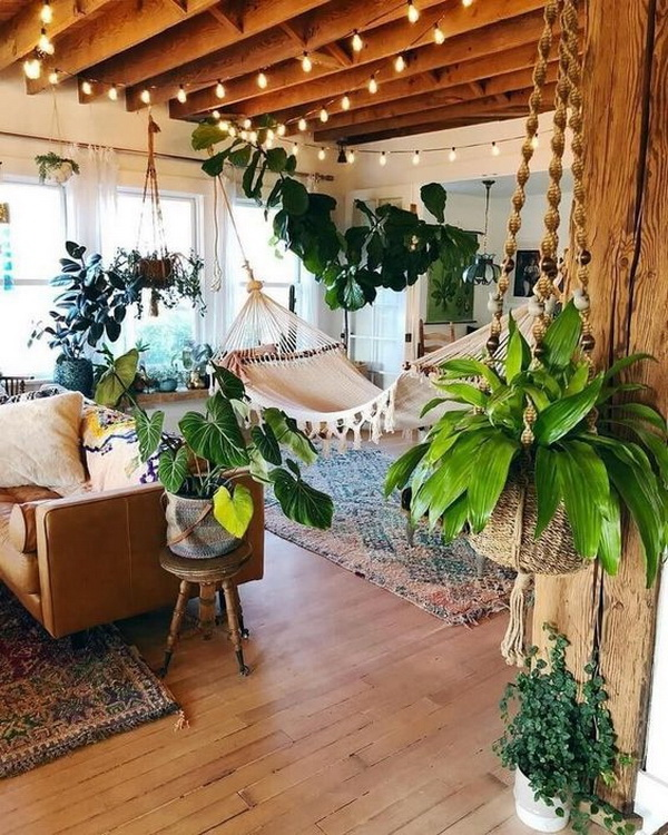Eclectic bohemian decorating style.